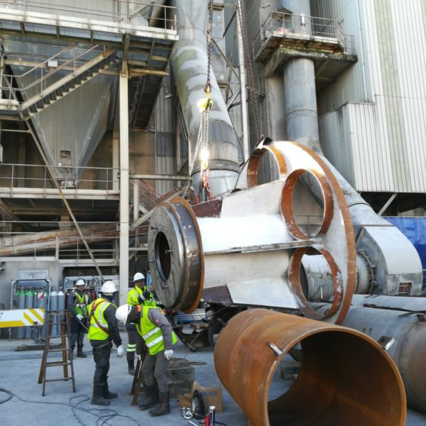rotary-drum-engineering/refurbishment-of-a-slag-planetary-dryer/handling-of-the-output-facade
